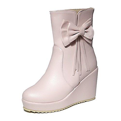 AgooLar Damen PU Ziehen auf Schließen Zehe Mittler Absatz Stiefel, Pink, 34