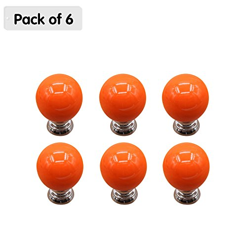 Zhi Jin 6Pcs Cute Cabinet Knobs Handle Round Ball Drawer Knob Pulls Set for Kids Kitchen Cupboard Orange by Zhi Jin