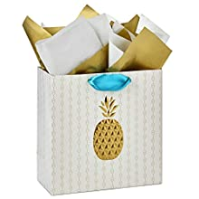 """Hallmark Signature 10"""" Large Gift Bag with Tissue Paper (Gold Embossed Pineapple) for Baby Showers, Bridal Showers, Housewarmings, New Jobs and More"""