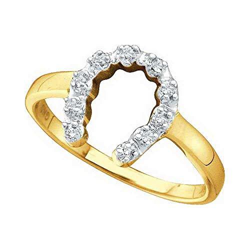 Diamond Ring Ladies Horseshoe (Jewel Tie - Size 8 - Solid 10k Yellow Gold Round Diamond Two-tone Simple Lucky Horseshoe Ring 1/20 Cttw.)