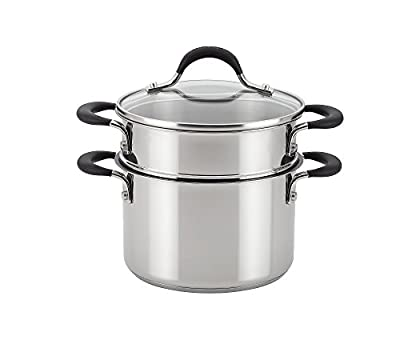 Circulon Momentum Stainless Steel Nonstick 3-Quart Covered Straining Saucepot with Insert