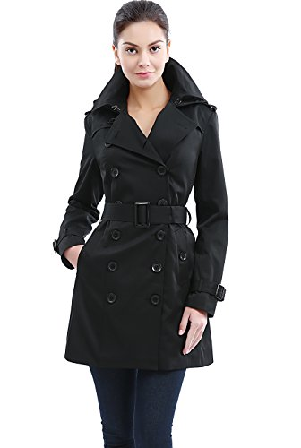 BGSD Women's Madison Hooded Waterproof Mid Length Trench Coat - Black XS