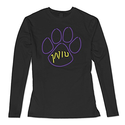 Barton Rugby (Western Illinois Leathernecks Paw Print T-shirt Black For Womens Long-Sleeved)