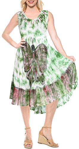 Handmade Ladies Tie Dye - LA LEELA Rayon Tie Dye Beach Halter Dress  Long  Digital Sea Green 514 Plus Size