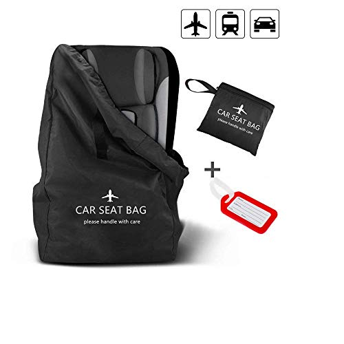 Car Seat Bag, Large Gate Check Travel Luggage Bag, Car Seat Cover Storage Bag Stroller Carrier with Shoulder Straps, Waterproof Carseat Carrier for Airplanes Trains Univeral Size