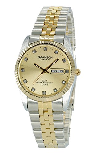 Swanson Men's Two-Tone Day-Date Watch Gold Dial with - Jubilee 20 Crystal Gold