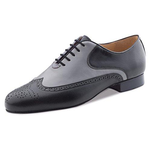 Nueva Epoca–Hombre Tango/Salsa Zapatos de baile Leon–Piel Negro/Gris, negro / gris, UK 6.5 | EUR 40 2/3