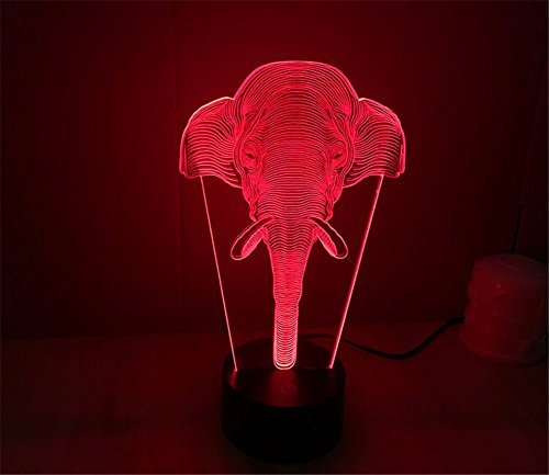 SmartEra® 3D Optical Illusion Long Nose Elephant Lighting Night 7 Color Change USB Touch Button LED Desk Table Light Lamp by