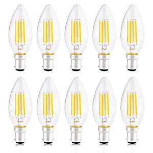 B15 Candle Bulb, Small Bayonet LED Bulbs 4W Equivalent to 40W Incandescent, Non-dimmable, 2700K Warm White, 420lm – Pack…