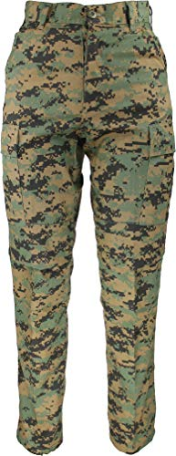 Woodland Camo Clothing - Woodland Digital Camo Poly/Cotton Military BDU Fatigue Pants with Official ArmyUniverse Pin (W 23-27 - I 29.5-32.5 - X-Small Reg)