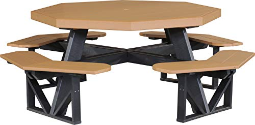 LuxCraft PolyTuf Octagon Picnic Table Cedar & Black
