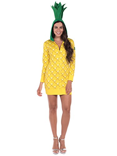 Tipsy Elves Pineapple Halloween Costume Dress: Small Yellow ()