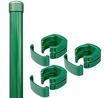 Zaunpfosten + Fix-Clip-Pro Pfosten Maschendraht Zaun grün 122,5cm ...