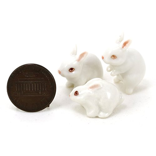 (3 White Rabbit Bunny Ceramic Miniature Animal Dollhouse plant terrarium (1:12))