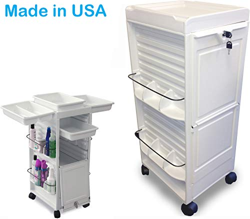 N20E-P R Aesthetician Roll-About Facial Cart Trolley for Salon SPA White Lockable Made in USA by Dina Meri