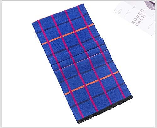 Pour Laine A76 Hiver Écharpe Foncé Automne Mode Treillis Foulard Bleu Artificielle 180cm Amdxd Gland Hommes 8dwTx11qa