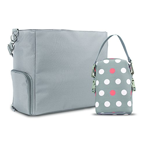 Dr. Brown's Breast Pump Carryall Bag and Convertible Bottle Tote, Grey and Polka Dot by Dr. Brown's