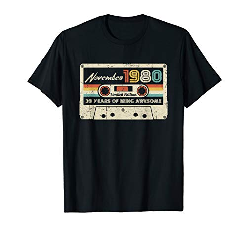 Women's Best of 1980 Cassette T-shirt for 40th Birthday, Choice of Colors