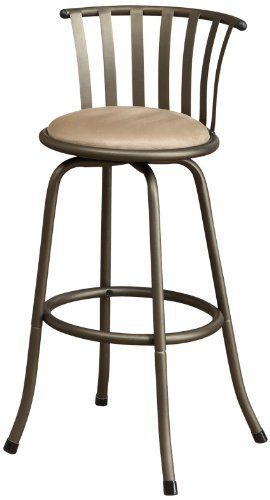 Poundex Sophia Swivel Barstool with 24-Inch Height or 29-Inch Height Adjustable Height, Set of 2 by Poundex (Image #1)