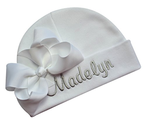 Personalized Embroidered Baby Girl Hat with Grosgrain Bow with Custom Name (White Hat/White Bow/Silver Thread) ()