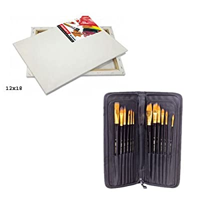 FineArt Canvas & Painting Brush Set of 12