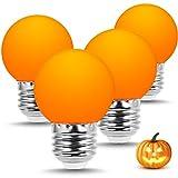 LOHAS Orange LED Light Bulb, G45 LED Globe Bulb, Color Light Bulb, E26/E27 Edison Base, 360 Degree Beam Angle, 1 Watt LED Light Bulb for Bedroom, Party Light, Night Lamp, Decorative Lighting, 4 Packs