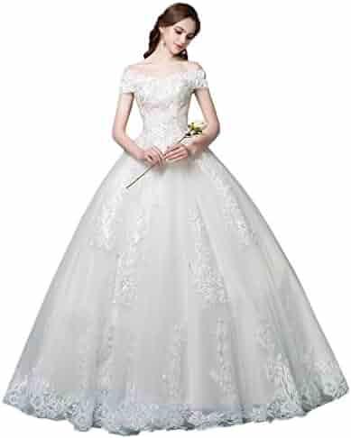 3e192c1c207a Okaybrial Women's Beach Wedding Dress Off Shoulder Appliques Beading Ball Gown  Bride Dress