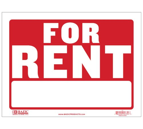 "BAZIC 12"" X 16"" For Rent Sign (L-4)"