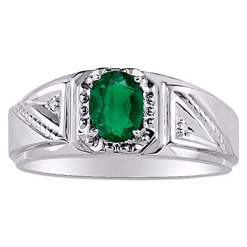 Genuine Diamond & Natural Oval Emerald Ring set in Sterling Silver .925 ()