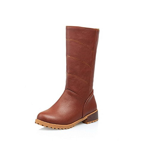 AllhqFashion Heels Womens Boots Low Closed Round Solid Brown PU Toe Zipper rqrIUZ