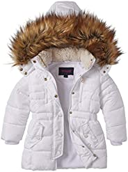 Sportoli Girls' Fleece Lined Heavy Quilted Fashion Detailed Jacket Coat with Attached Sherpa Lined
