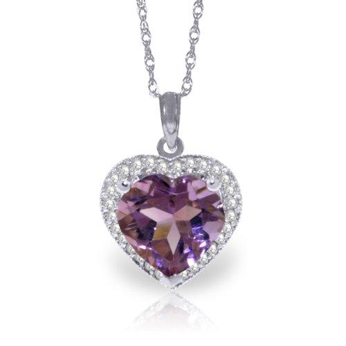 "14K 20"" White Gold Genuine Diamond & Heart-shaped Purple Amethyst Pendant Necklace"