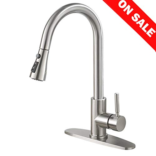 Commercial High Arch Pull Down Sprayer Brushed Nickel Kitchen Faucet, Swivel Single Lever Stainless Steel Kitchen Sink Faucet With Deck Plate