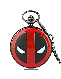Men's Pocket Watch, Cool Deadpool Pattern Pocket Watch with 30cm Chain, Gift for Kids, Children Xmas Gift - Ahmedy Pocket Watch