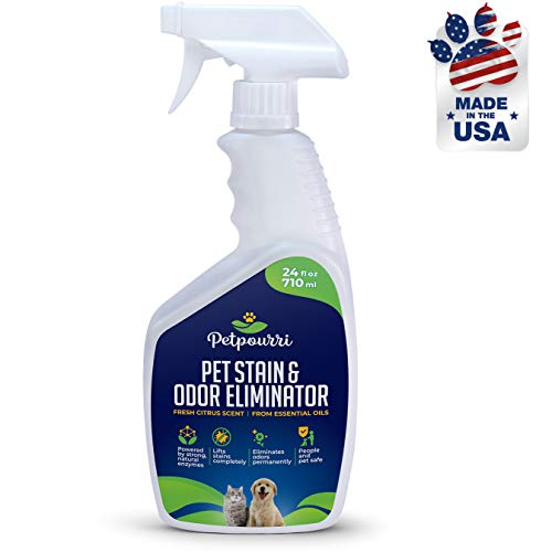 Petpourri Pet Odor Eliminator - Organic Stain Remover - Fortified with Naturally Bio-Activated Enzymes - Light Citrus Oil Scent, 24 Oz