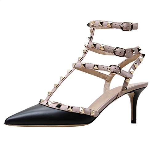 MERUMOTE Women's Strappy Heeled Sandals Double Buckle Thin Rivets Dress Sandals Black Matte browse cheap price pictures outlet Cheapest cheap sale latest collections discount get authentic nPk9ux