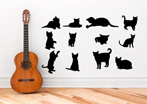 N.SunForest Wall Decals Cat Kitten Silhouette Set of 12 Wall