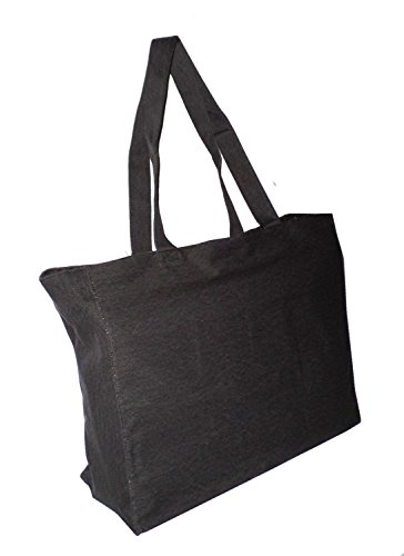 Hamptons Weekender Bag - Extra Large Travel Day Tote Bag Heavy Duty Cotton Twill Zip Top (Charcoal Gray)