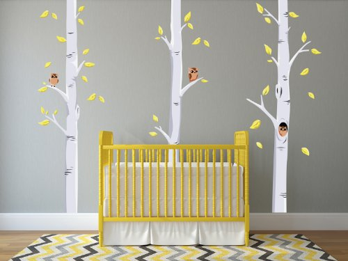 Sunny Decals Modern Birch Trees Fabric Wall Decals with Owls and Leaves (Set of 3) by Sunny Decals