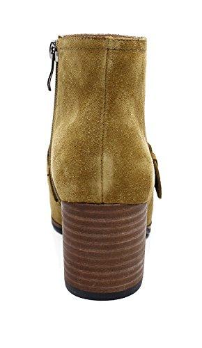 Guoar Kvinnor Rund Tå Mitten Klossklackar Mode Spänne Boots Kamel
