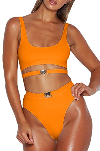ioiom Womens Punky High Cut Bikini Swimwear Scoop Neck Hollow Out Strappy Cami Plus Size Active 2pcs Summer Swimsuit Outfit Pink XL ()