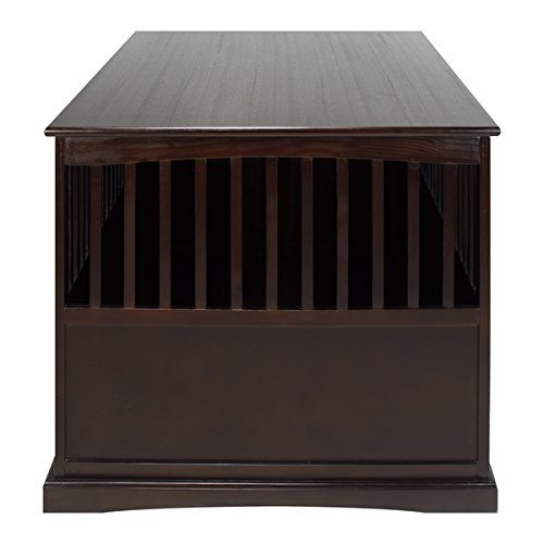 Wooden Furniture Extra Large Pet Crate Espresso Solid Wood End Table