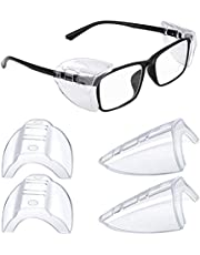 2 Pairs Safety Glasses Side Shields, Slip on Clear Side Shields for Glasses Protection, Fits Small Medium and Large Eyeglasses Frames (2)