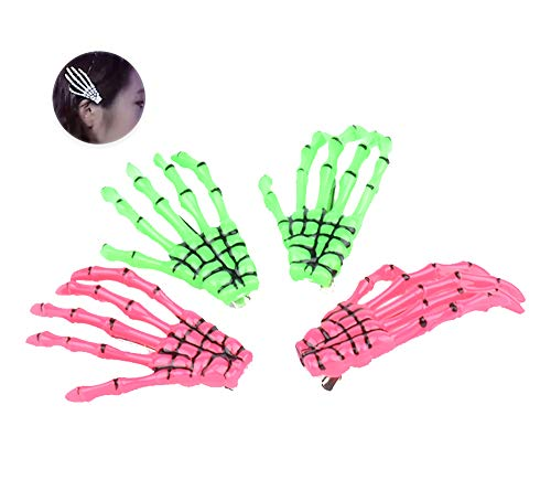 2 Pairs Skeleton Hands Bone Hair Clips Fashion punk rock devil claw crocodile hair clip for Women Girls Hair Accessories - Green and Red ()