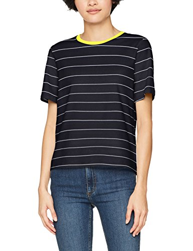 Only Onllive Love Trendy Stripe SS Oneck Noos, T-Shirt Donna Multicolore (Night Sky Stripes: Thin White)