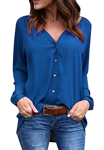 OMZIN Women's Casual V-Neck Cuffed Sleeve Tops Button Down Shirts Pullover Royal Blue M ()