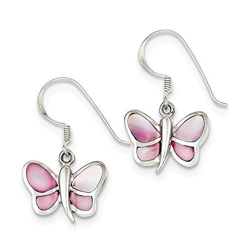 (Sterling Silver Pink Shell Butterfly Earrings)
