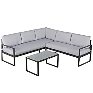 Outsunny 3 Pieces Outdoor L Shape Furniture Set