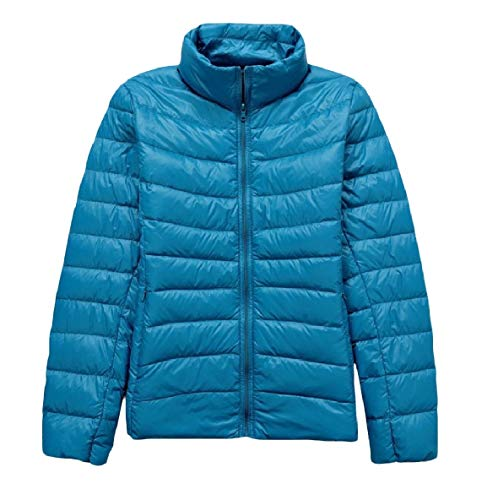 XINHEO Size Stand Packable Down Outwear Collar Lake Light Plus Blue Ultra Jackets Women 144rqCwU