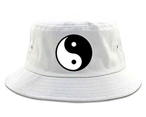 (Kings Of NY Yin and Yang Chest Graphic Mens Bucket Hat White)